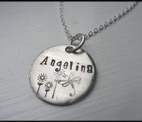 Personalized & Handstamped Stainless Steel Spring Meadows Modern Arte Name Necklace